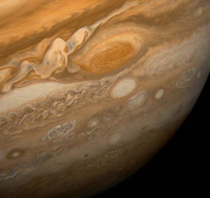 Great Red Spot op Jupiter, foto door Voyager 1, 1979