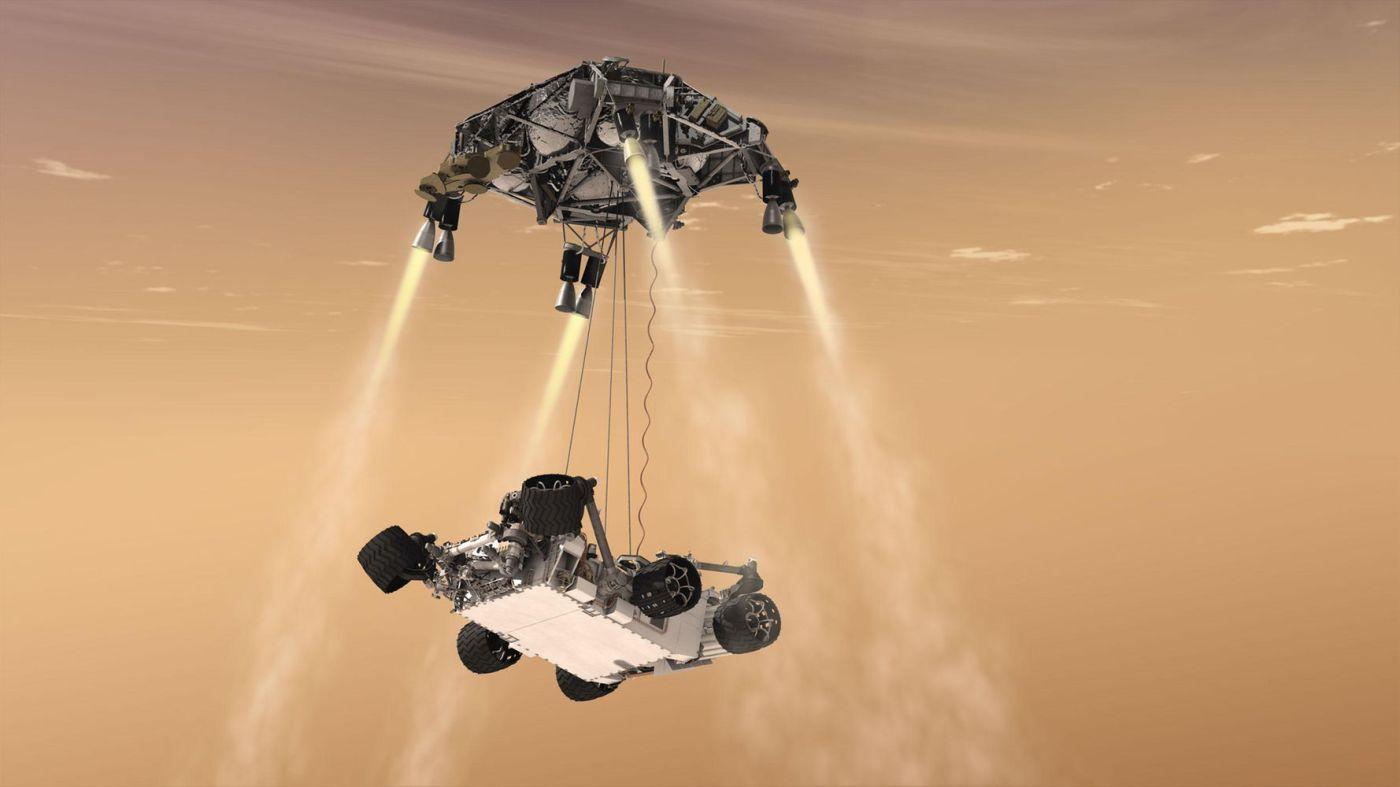 Computerschets van de landing van de Mars Curiosity Rover